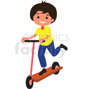 cartoon boy riding scooter clipart. Commercial use image # 409953