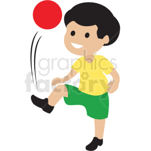 cartoon boy playing kick ball clipart. Commercial use image # 409969