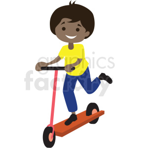cartoon African American boy riding scooter clipart. Commercial use image # 409978