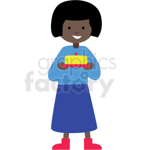 african american cartoon girl holding cake vector clipart clipart. Commercial use image # 409988