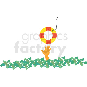 drowning in debt cartoon vector clipart