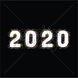 2020 design new year clipart black background