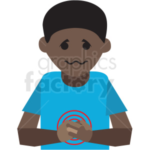 african american boy with upset stomach vector icon