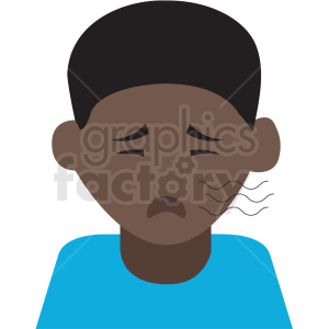 african american boy coughing vector icon clipart. Royalty-free image # 410117