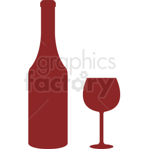 red bottle of wine and glass silhouette vector clipart. Commercial use image # 410340