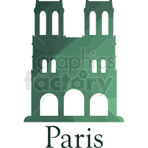 green Notre Dame Paris vector design clipart. Royalty-free image # 410725