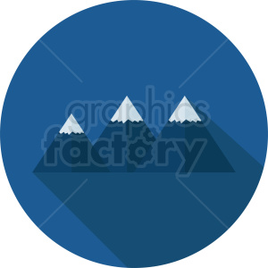 snow top mountain vector icon on blue circle background clipart. Commercial use image # 410956