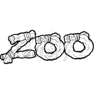 cartoon black and white zoo typography vector clipart