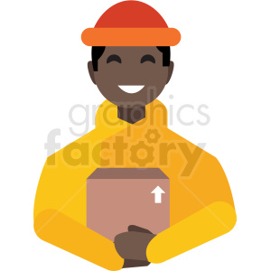 black delivery man flat icon vector icon clipart. Royalty-free image # 411292
