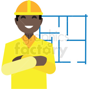 black construction worker flat icon vector icon clipart. Commercial use image # 411314