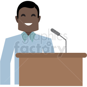 black man speaking at podium flat icon vector icon clipart. Royalty-free image # 411326