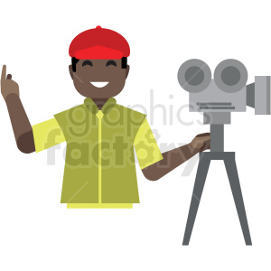black movie producer flat icon vector icon clipart. Commercial use image # 411330