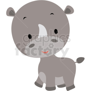 baby cartoon rhino vector clipart