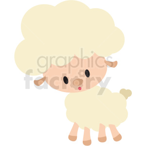 baby cartoon lamb vector clipart