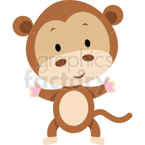 baby cartoon monkey vector clipart