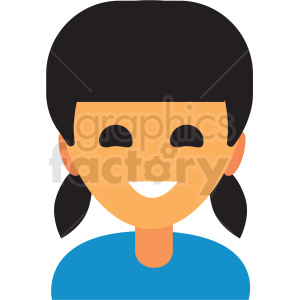 girl with pony tails avatar icon vector clipart clipart. Royalty-free image # 411511