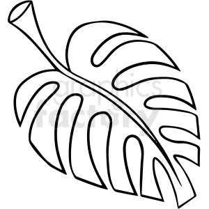 cartoon jungle leaf black white vector clipart clipart. Commercial use image # 411644