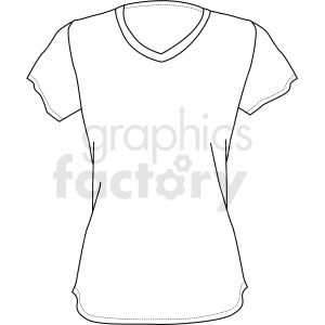 black white girls short sleeve shirt vector clipart clipart. Commercial use image # 411708