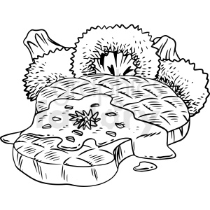 black and white steak with broccoli vector clipart