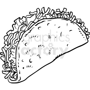 black and white taco vector clipart clipart. Royalty-free image # 411744