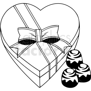 black and white cartoon Valentines chocolate candy vector clipart clipart. Commercial use image # 411793