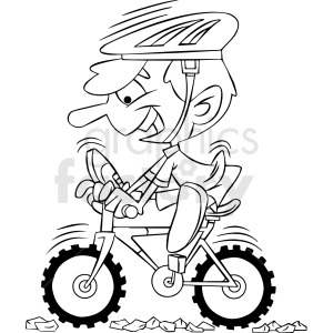 black and white cartoon mountain biker clipart. Commercial use image # 412399