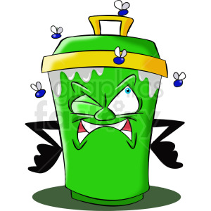 cartoon trash can character mad about flies clipart. Commercial use image # 412449