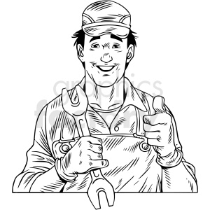 black white vintage mechanic giving thumbs up vector clipart clipart. Commercial use image # 412537