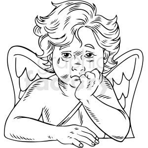 black white vintage cupid crying vector clipart clipart. Commercial use image # 412544