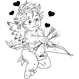 black white vintage cupid vector clipart clipart. Commercial use image # 412548