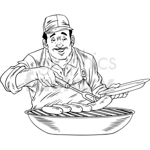 black white vintage man cooking sausage on grill vector clipart clipart. Commercial use image # 412550