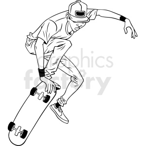 black and white cartoon skateboarder doing tricks vector illustration clipart. Commercial use image # 412606