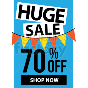 blue 70 percent off huge sale shop now icon vector clipart clipart. Commercial use image # 412674