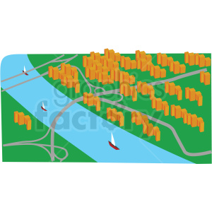 river aerial scene vector clipart clipart. Commercial use image # 412697