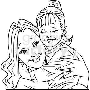 black and white mom hugging child vector clipart clipart. Commercial use image # 412706