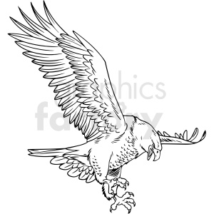 black and white eagle vector clipart