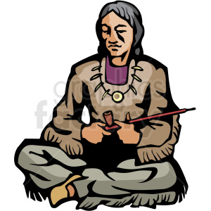 Native American holding peace pipe clipart. Royalty-free image # 374163