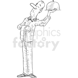 waiter tray vector tattoo design