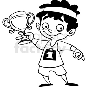 black and white cartoon child holding trophy vector clipart. Commercial use image # 412839