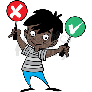 hispanic cartoon child crossing guard vector clipart. Royalty-free image # 412840