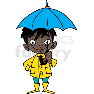 hispanic cartoon child holding umbrella vector clipart. Commercial use image # 412854
