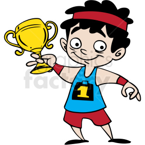 cartoon child holding trophy vector clipart. Commercial use image # 412859