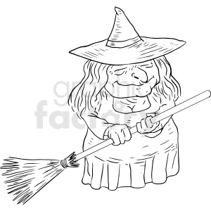 witch holding broom black and white tattoo design