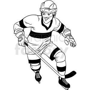 black and white hockey player going for puck clipart design clipart. Royalty-free image # 412928