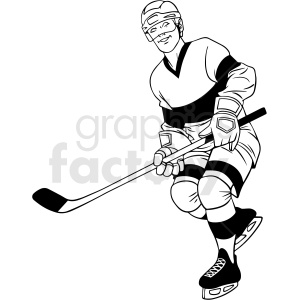 black and white hockey player clipart design
