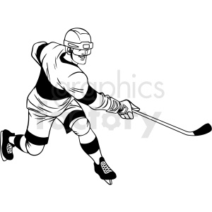 black and white hockey player trying to score clipart clipart. Royalty-free image # 412944