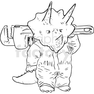 dino tri mechanic black and white tattoo design  clipart. Commercial use image # 412983