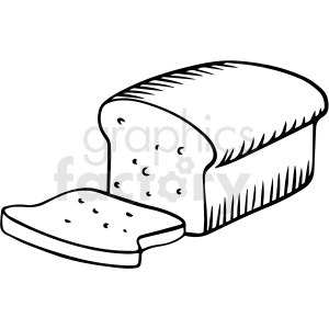 black and white bread loaf vector clipart
