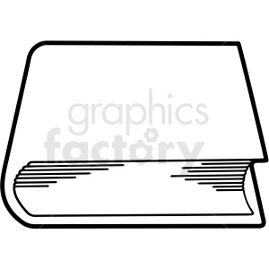 black and white book end outline vector clipart