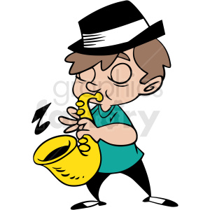 boy playing saxophone vector clipart clipart. Royalty-free image # 413034